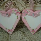 TWO ROSES HEART HAND PAINTED SHABBY ROSES WOODEN ORNAMENTS WITH GEM *SO PRETTY*