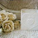SQUARE SHABBY FRENCH CHIC PAINTED METAL TIN ROSE WITH HEARTS PLANTER *FABULOUS*