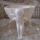 Beautiful Vintage White Bowl With Three CHERUB ANGELS **GORGEOUS**