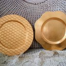 2 BEAUTIFUL GOLD DECORATIVE PLASTIC CHARGER PLATES ***SO PRETTY****