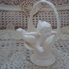 Pretty Vintage Ceramic Cherub Angel Basket