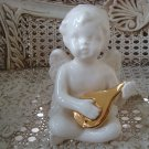 Beautiful Vintage Ceramic Angel Cherub Figurine With Musical Instrument