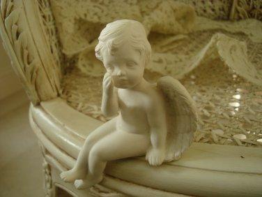 Beautiful Miniature White Vintage Angel Cherub Figurine **SO CUTE**