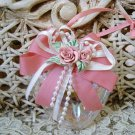 PRETTY OPALESCENT GLASS HEART ORNAMENT WITH ROSES & BOW ***SO CHIC***
