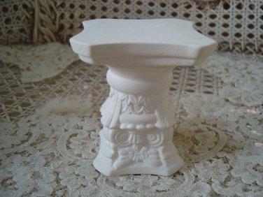 Vintage MINIATURE *Short* WHITE Ceramic COLUMN To Sit Miniature Cherub Angel On