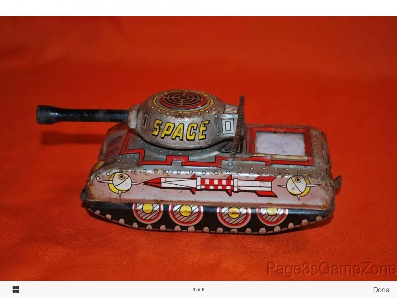 Vintage tin litho space tank