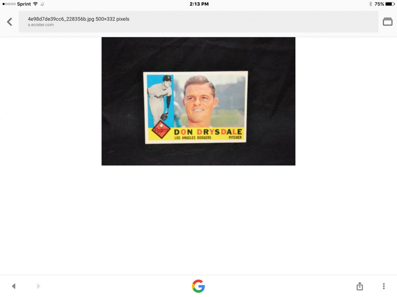 Don Drysdale baseball card