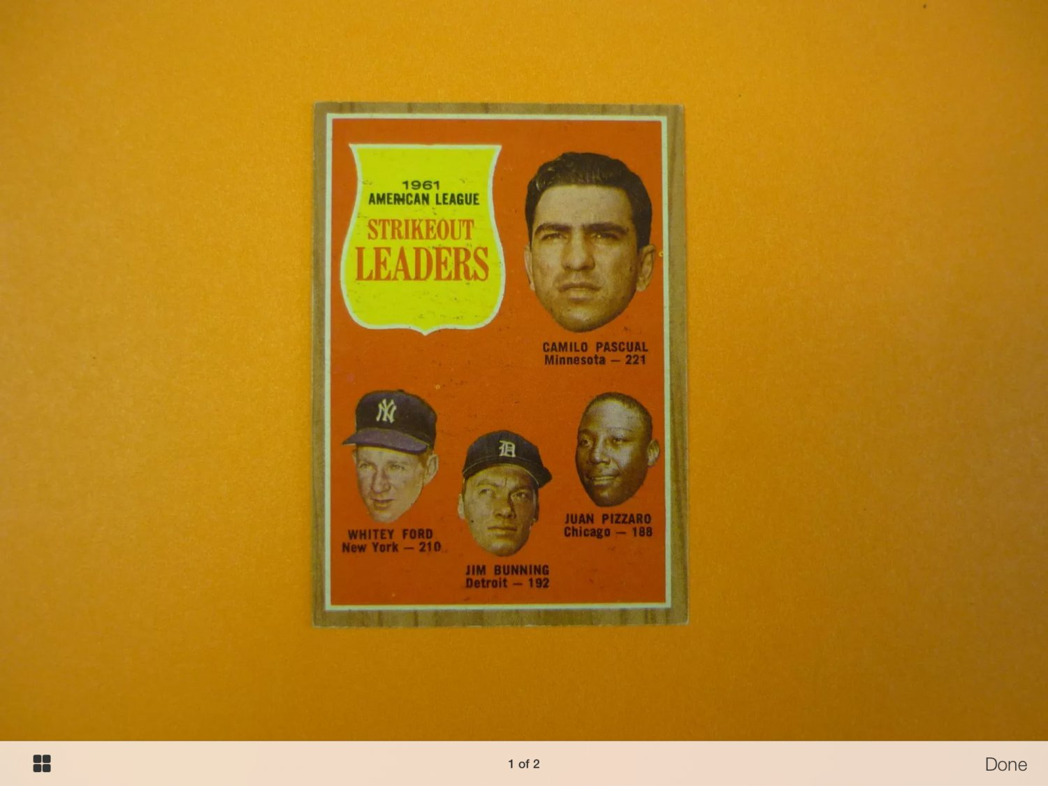 1962 topps strikeout leaders baseball card