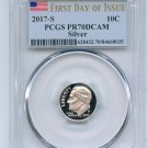 2017 S 10C Silver Roosevelt Dime PCGS PR70DCAM First Day of Issue. Serial numbers may vary