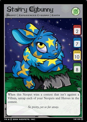 Starry Cybunny Holofoil Rare 18/100 Neopet Card