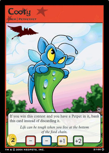 Cooty Holofoil Rare 2/100 Neopet Card