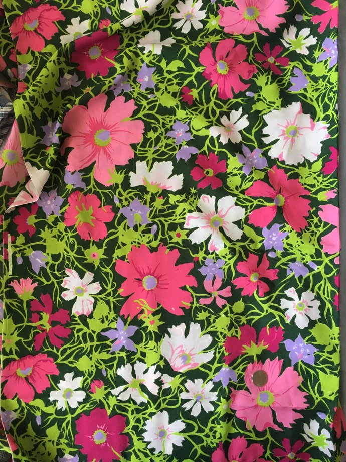 """45"""" wide 2 yards 2"""" Bright Floral Crepe Fabric"""