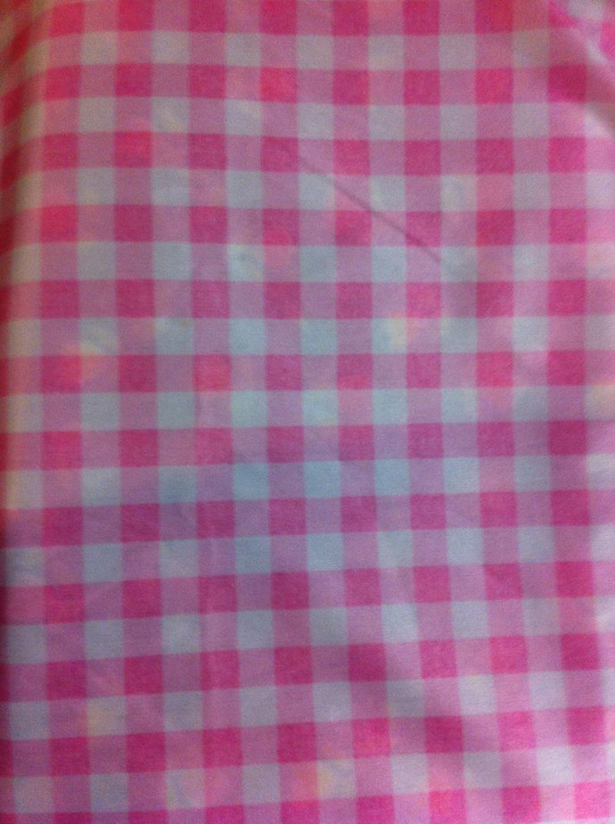 "62"" x 27"" Pink and White Check Knit"