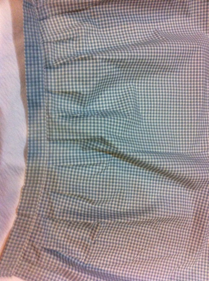 "39"" x 17 3/4"" Blue Check Pleated Cotton Valance"
