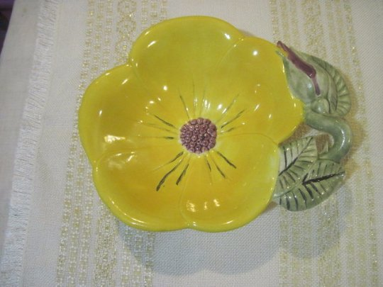 Handpainted Porcelain Yellow Flower with Grapes in Center by Lucy