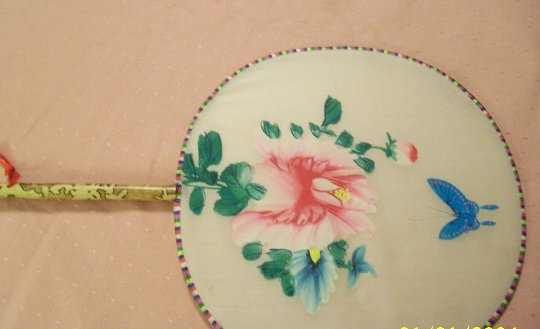 Charming Fan with Red Flower and Blue Butterfly