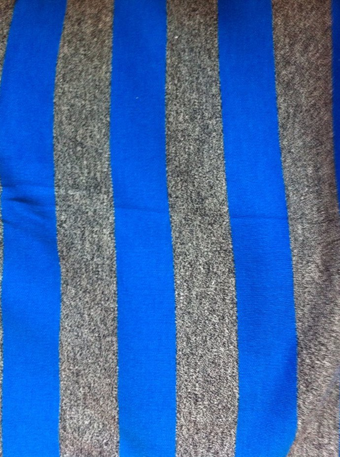 "62"" wide 1 yard 26"" Royal Blue And Grey Knit"