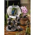 Bronzed Patina Mermaid Fishbowl Stand