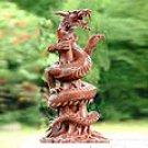 Wood `Immortal Dragon` Sculpture