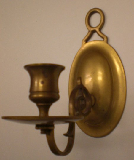 Brass Victorian / Federal Style Wall Mounted Single Candle Sconce, Very Heavy & Nice Patina Finish