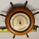 Taylormade Taylor Marine Nautical Teak Ship's Wheel TableTop/Bulkhead Barometer, 1960's, Wks Gr8!