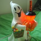 AWESOME GHOST WITH TRICK OR TREAT BAG HALLOWEEN BUBBLE LIGHT WITH PUMPKIN