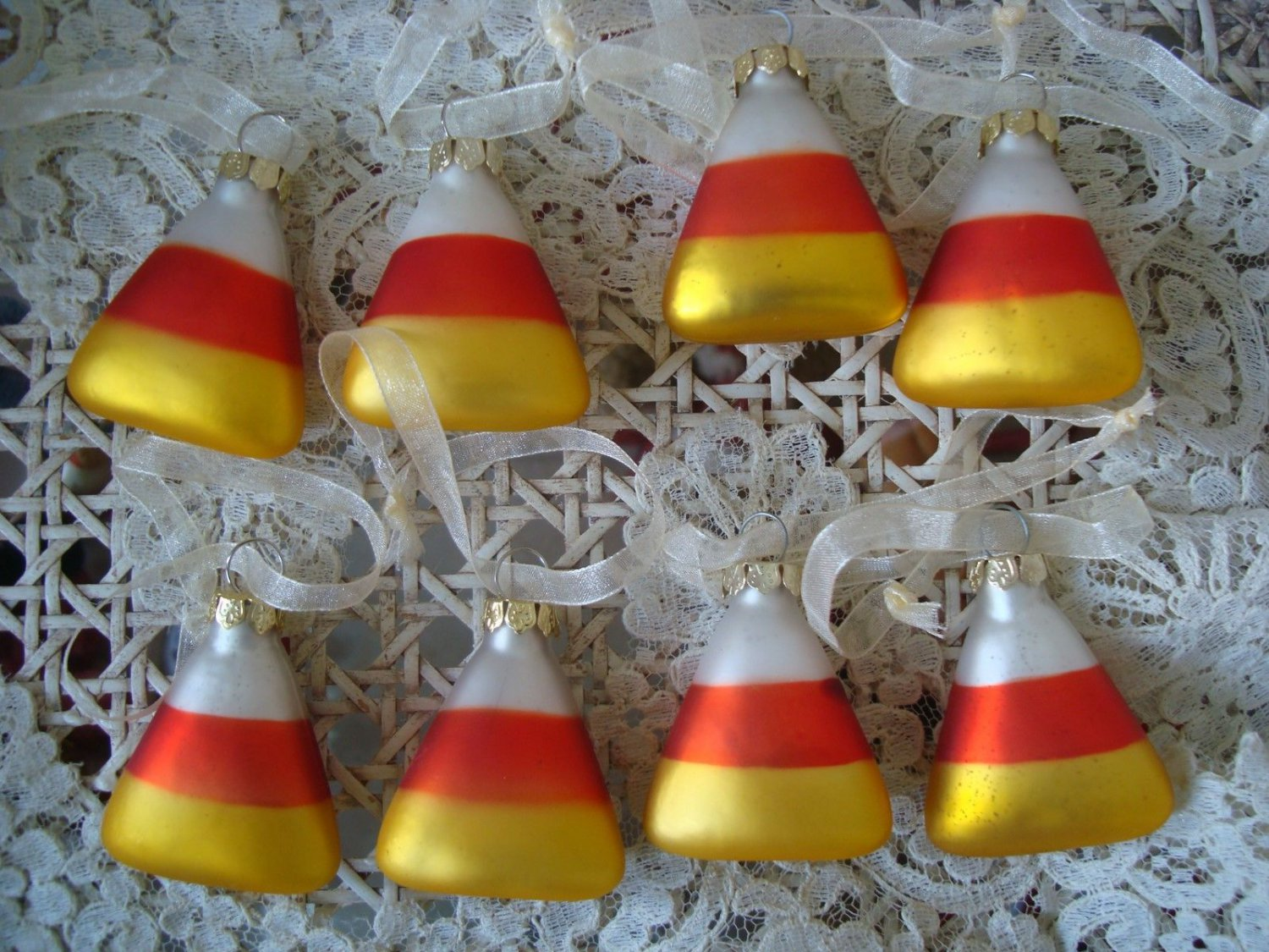 8 VINTAGE ADORABLE CANDY CORN BLOWN GLASS HALLOWEEN ORNAMENTS  ***SO CUTE***