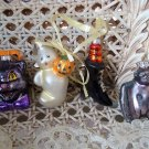 SET OF 4 BLOWN GLASS HALLOWEEN ORNAMENTS BLACK CAT GHOST BAT WITH GLITTER *NEW*
