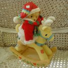 CHERISHED TEDDIES MUSICAL CHRISTMAS SANTA BEAR ON REINDEER RETIRED **NEW**