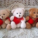 GANZ SET OF 3 ADORABLE VALENTINE'S DAY TEDDY BEARS WITH HEARTS **SO CUTE** NEW