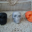 SET OF 3 HALLOWEEN CREEPY GLITTER SKULLS ORANGE BLACK & SILVER ***SPOOKY***