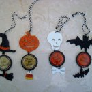 SET OF 4 ADORABLE HALLOWEEN ORNAMENTS METAL & GLITTER CANDY CORN ***SO CUTE***