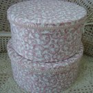 GORGEOUS SET OF 2 FABRIC ROUND HAT BOXES ***GREAT FOR STORAGE OR DISPLAY**