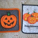 TWO ADORABLE HALLOWEEN PUMPKIN POTHOLDERS ***SO CUTE***