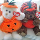 TWO TY JOINTED HALLOWEEN PUMPKIN BEARS ***SO CUTE***