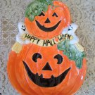 OMNIBUS PUMPKIN WITH GHOSTS TREATS PLATE HALLOWEEN RETIRED **SO CUTE**