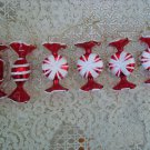 6 GORGEOUS CANDY BLOWN GLASS CHRISTMAS ORNAMENTS WITH SPARKLING GLITTER **NEW**