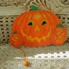 MIDWEST IMPORTERS WOODEN JACK O'LANTERN PUMPKINS WOODEN PULL TOY ORNAMENT *RARE*