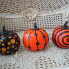 SET OF 3 PUMPKINS ACCENTED WITH GLITTER HALLOWEEN **WHIMSICAL**