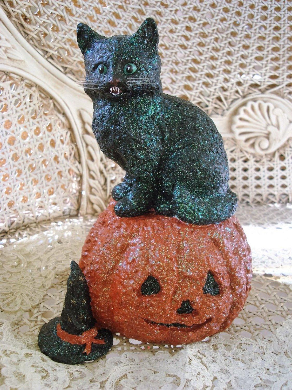 WHIMSICAL VINTAGE INSPIRED  HALLOWEEN BLACK CAT WITH PUMPKIN GLITTER FIGURINE