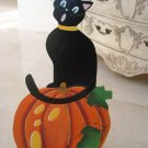LARGE HALLOWEEN WHIMSICAL BLACK CAT WITH PUMPKIN STAND UP SIGN