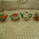 MARY ENGELBREIT SET OF 4 WHIMSICAL TEAPOT CHRISTMAS ORNAMENTS **SO CUTE*** NEW