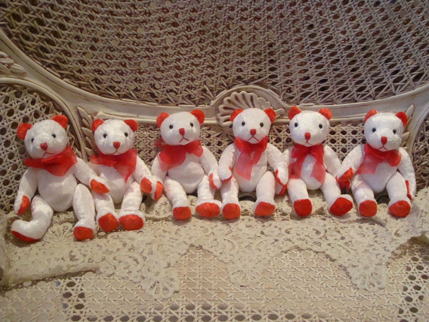 "ADORABLE SET OF SIX RED & WHITE 8"" TALL PEPPERMINT CHRISTMAS BEARS ***SO CUTE***"