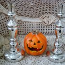 MERCURY GLASS REPRODUCTION LARGE HALLOWEEN CANDLE STICKS CANDLE HOLDERS