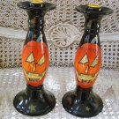SUSAN WINGET HALLOWEEN PUMPKIN CANDLE HOLDERS **SET OF 2**