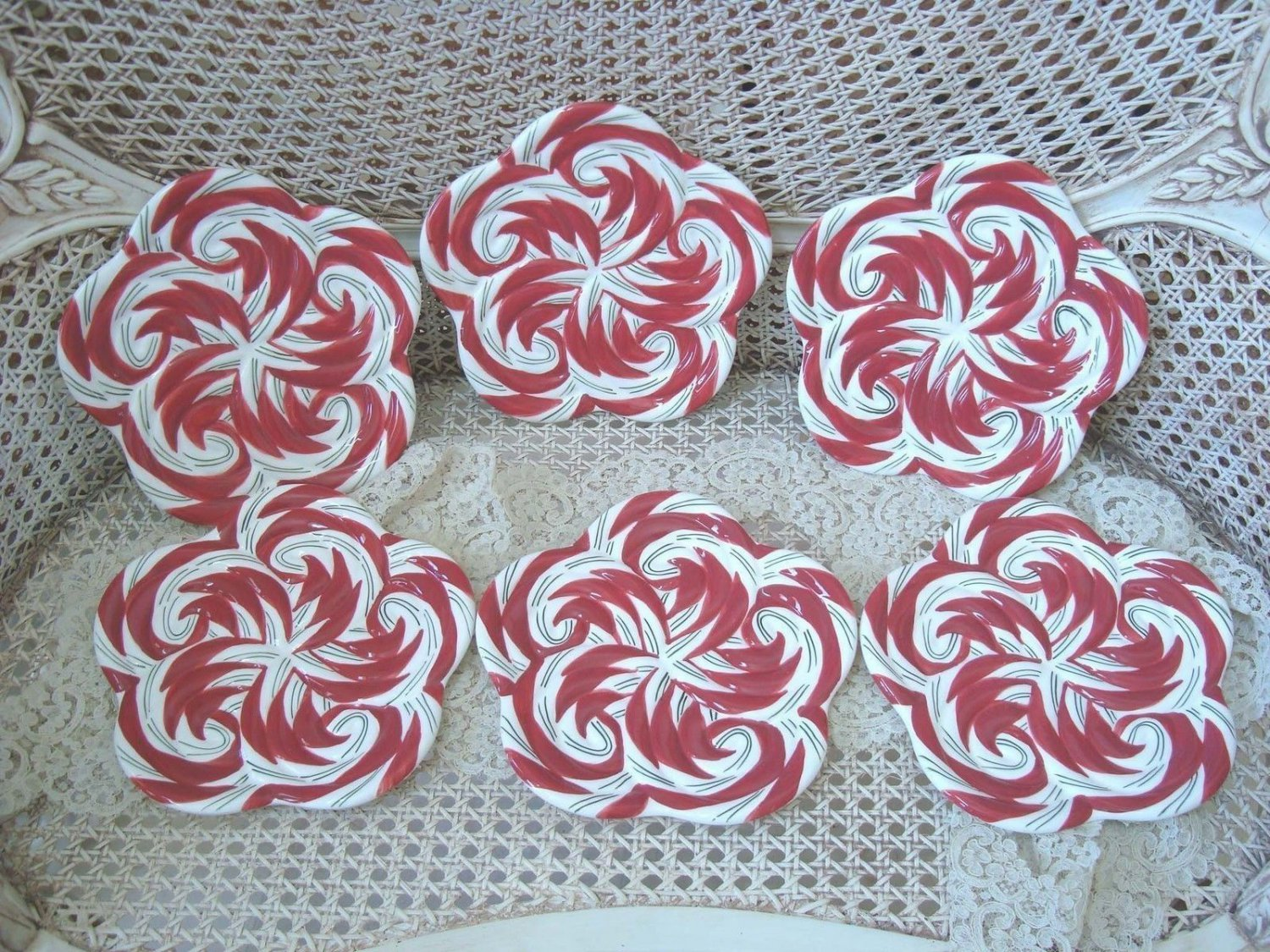 SET OF 6 WHIMSICAL CHRISTMAS PEPPERMINT CANDY CERAMIC PLATES