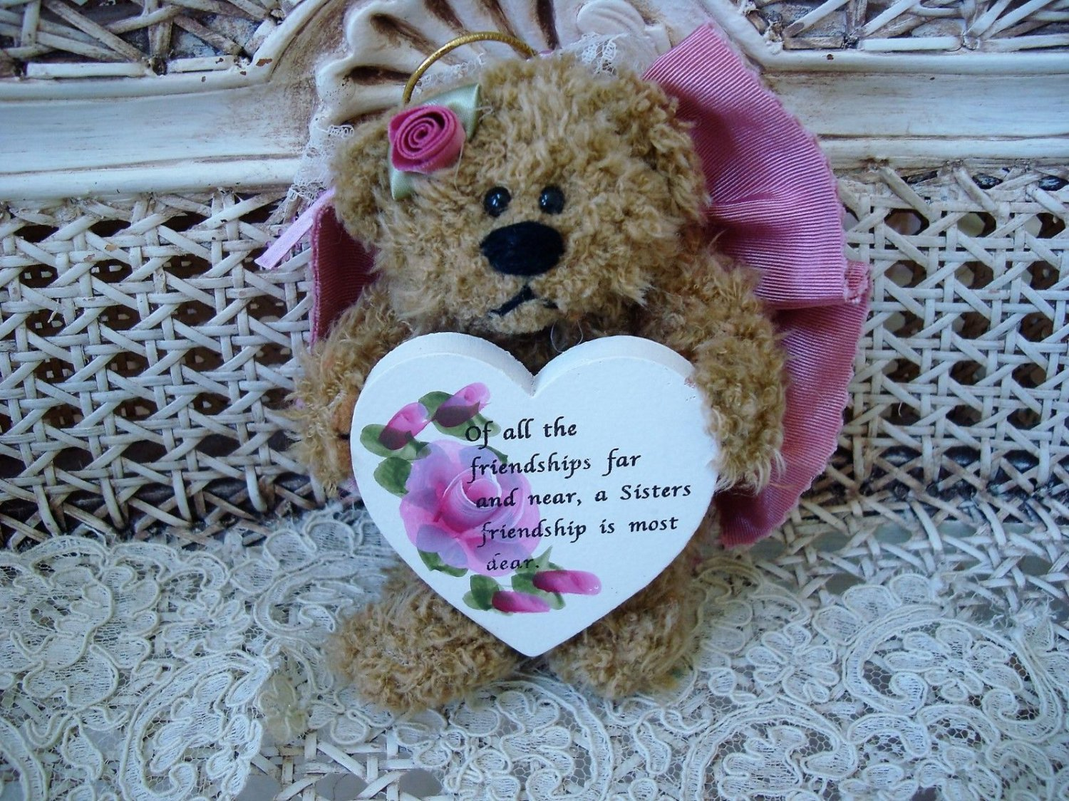 A SISTERS FRIENDSHIP IS MOST DEAR  MAUVE BEAR ORNAMENT WITH WOODEN HEART SO CUTE