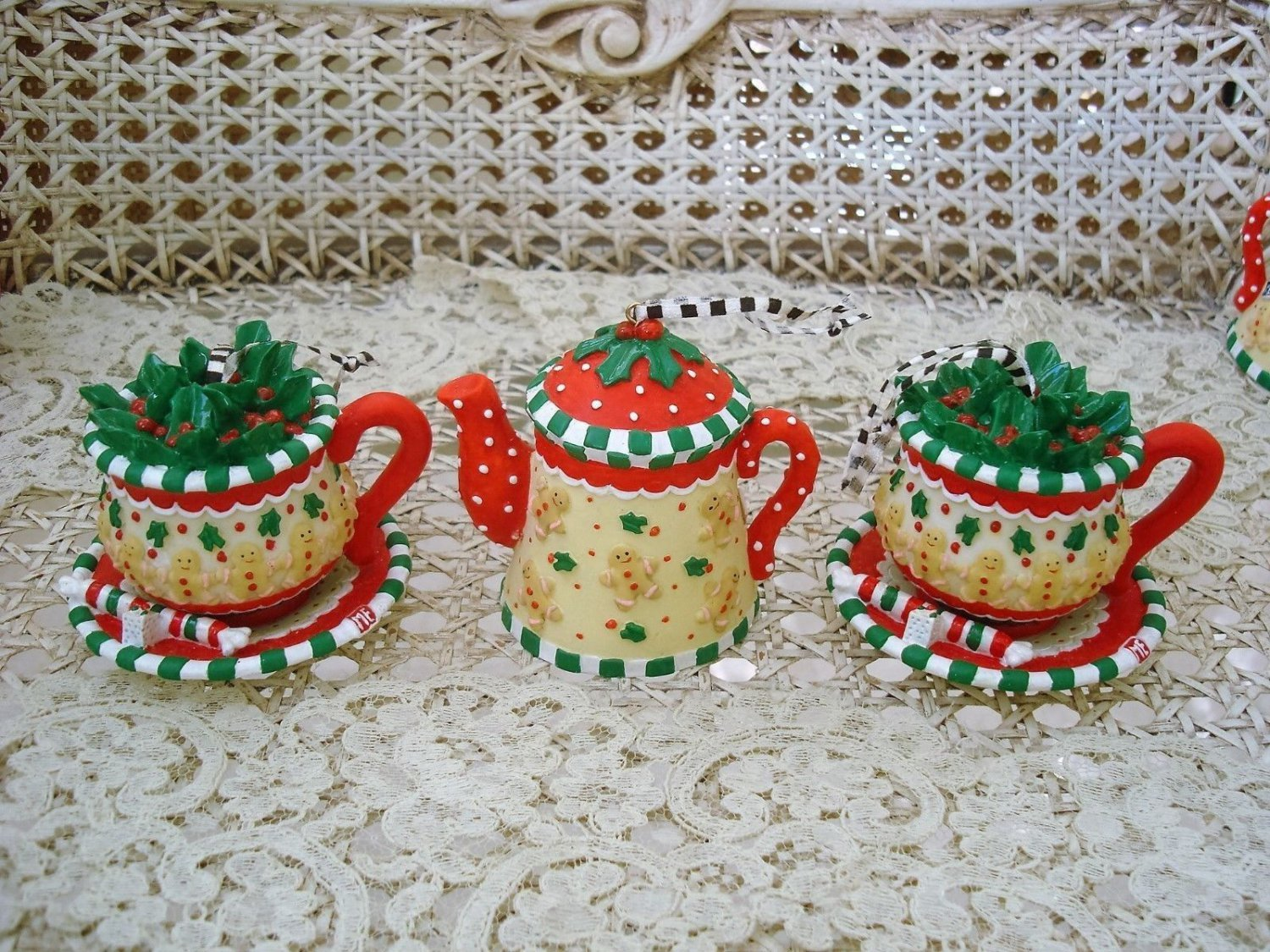 MARY ENGELBREIT SET OF 3 WHIMSICAL TEAPOT GINGERBREAD MAN CHRISTMAS ORNAMENTS