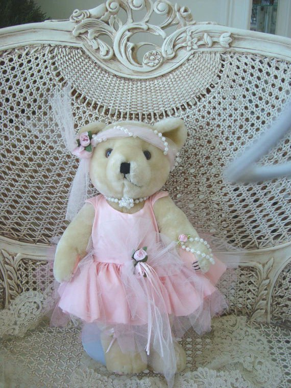 GORGEOUS VINTAGE PINK FRILLY BALLERINA BEAR WITH ROSES INCLUDES STAND **GORGEOUS**