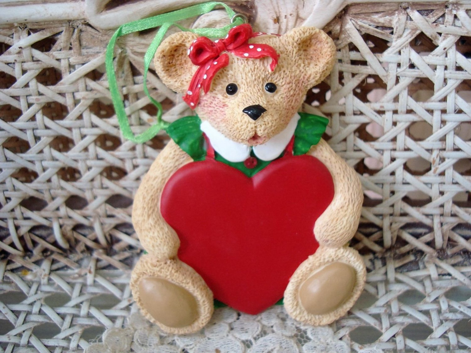 HOLLY BEARIES RETIRED GIRL BEAR WITH HEART CHRISTMAS ORNAMENT *NEW*